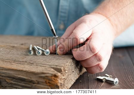 Screw Being Screwed Into A Piece Of Wood