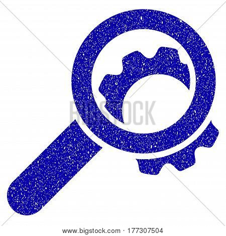 Grunge View Configuration Gear rubber seal stamp watermark. Icon symbol with grunge design and dust texture. Unclean vector blue emblem.