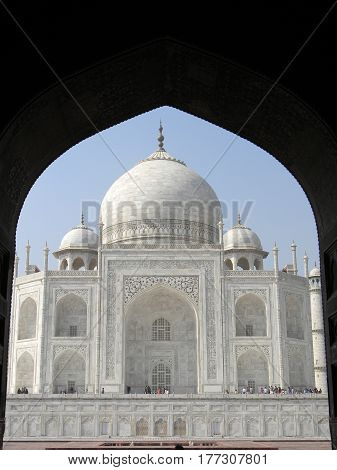 Taj Mahal From An Arched Portal Of Adjacent Mosque