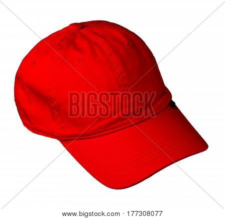 Hat Isolated On White Background. Hat With A Visor.red Hat