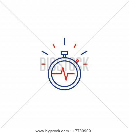 Fast time stop watch vector line icon, quick delivery logo, fitness session, speed hour