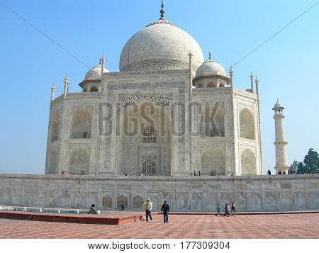 Close perspective angle of the Taj Mahal mausoleum in Agra India with the main building dome and the entry portal