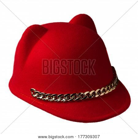 Fedora Hat Isolated On White Background .fedora Hat With Ears .red Hat