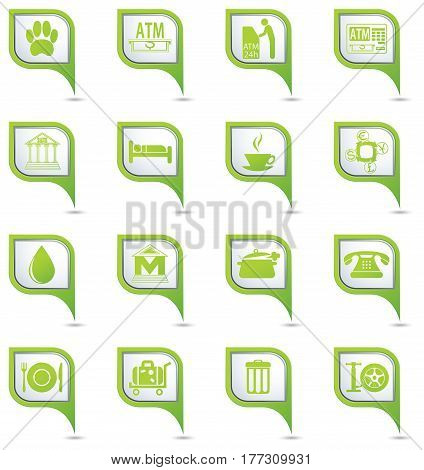 Services icons set on map pointers. Vector illustration