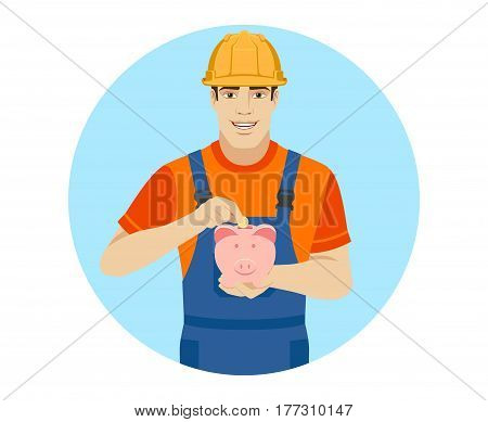 Builder puts coin in a piggy bank. Portrait of builder in a flat style. Vector illustration.