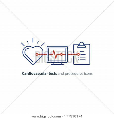 Cardiovascular disease prevention test, heart diagnostic, electrocardiography logo, medical monitor screen, undergo ecg procedure, check up hypertension risk, vector mono line icon