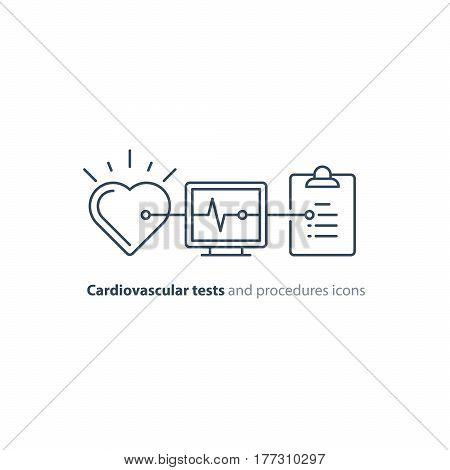 Cardiovascular disease prevention test, heart diagnostic, electrocardiography logo, medical monitor screen, undergo ecg procedure, check up hypertension risk, vector mono line icon