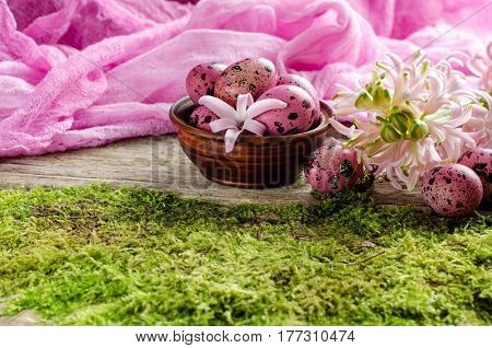 Beautiful Easter Background With Little Pink Egg And Flowers Of Hyacinth