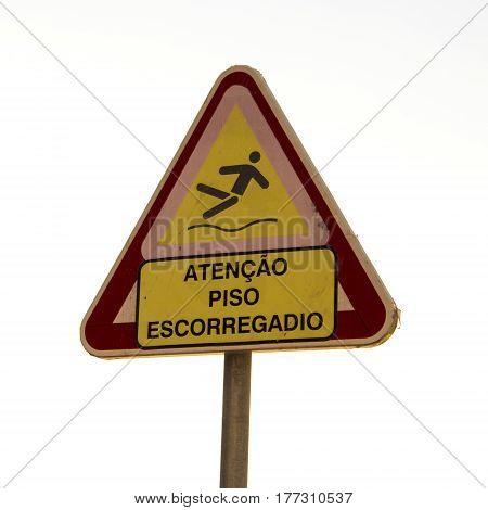Signal of attention slippery floor in portuguese language