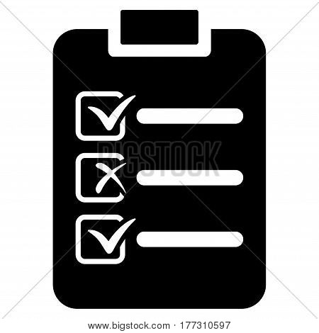 Check List vector icon. Flat black symbol. Pictogram is isolated on a white background. Designed for web and software interfaces.