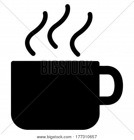 Coffee Cup vector icon. Flat black symbol. Pictogram is isolated on a white background. Designed for web and software interfaces.