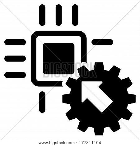 Hitech Processor And Gear Integration vector icon. Flat black symbol. Pictogram is isolated on a white background. Designed for web and software interfaces.