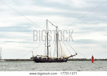 Rostock, Germany - August 2016: Sailing ship Stortemelk on the baltic sea. Hanse-Sail Warnemuende at port Rostock, Mecklenburg-Vorpommern, Germany. Tall Ship.Yachting and Sailing travel. Cruises and holidays