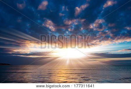 Sunset or sunrise on sea