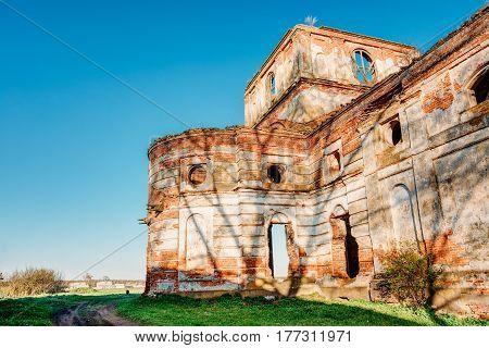 Red Brick Walls Of Old Ruined Orthodox Church Of The St. Nicholas In Village Lenino, Dobrush District, Gomel Region, Belarus