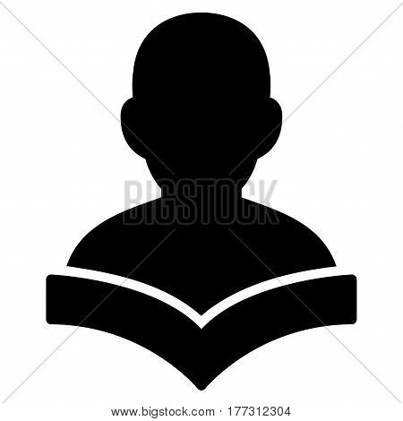 Reader Student vector icon. Flat black symbol. Pictogram is isolated on a white background. Designed for web and software interfaces.