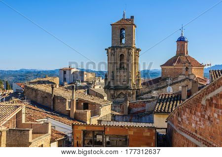 Church towers in Calaceite in Aragon Spain