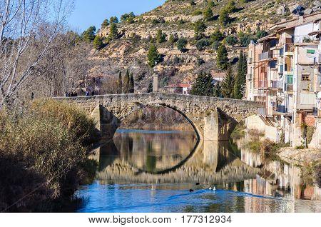 Bridge reflection in Valderrobres in Aragon Spain