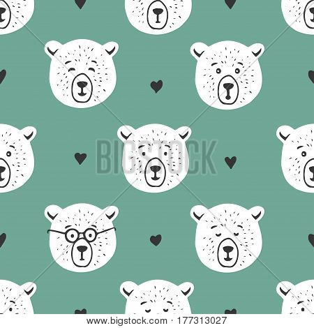Cute bear seamless pattern. Cartoon style doodle drawing with hearts design elements for textile prints decoration. Hand drawn vector illustration.