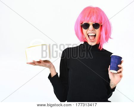 Girl In Pink Wig Holding Coffee Cup And Meal Box