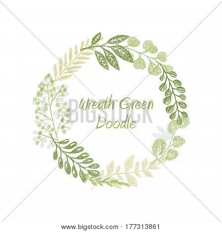 Green doodle floral circle wreath vector isolated on white background