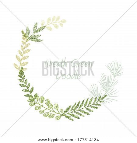 Greenery scribble hand drawn foliage border vector, greeting, invitation or wedding card template. Green leaf frame. Spring floral wreath