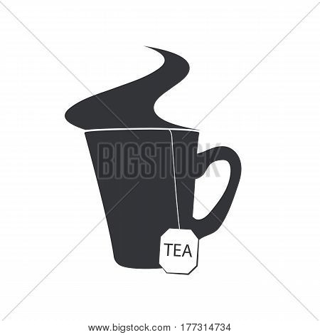 Emblem of a cup of tea with a sachet and a steam