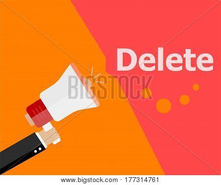 Flat Design Business Concept. Delete Digital Marketing Business Man Holding Megaphone For Website An