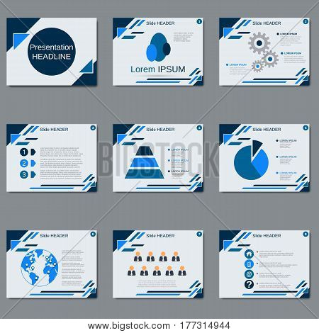 Professional business presentation, slide show vector design template. White background with blue geometric elements