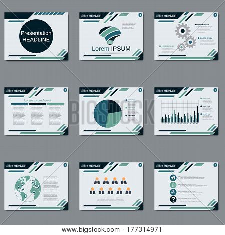 Professional business presentation, slide show vector design templat. White background with abstract geometric elements