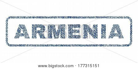 Armenia text textile seal stamp watermark. Blue jeans fabric vectorized texture. Vector caption inside rounded rectangular banner. Rubber sticker with fiber textile structure.