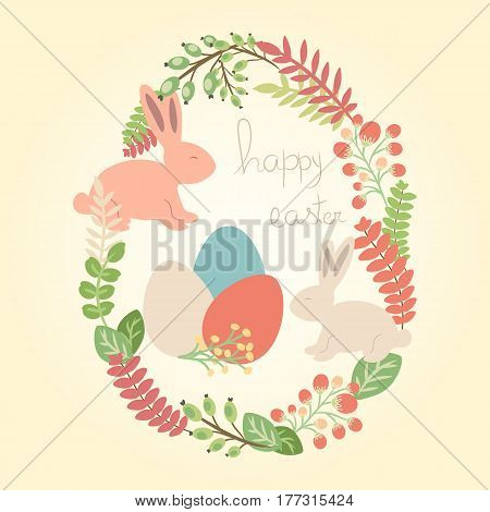 Vector happy easter greeting card with rabbits eggs and flowers. Holiday design with cartoon elements