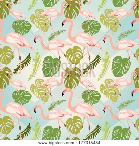 Hand drawn pink flamingo sketch. Vector illustration. Exotic bird with monstera leaves. Seamless pattern