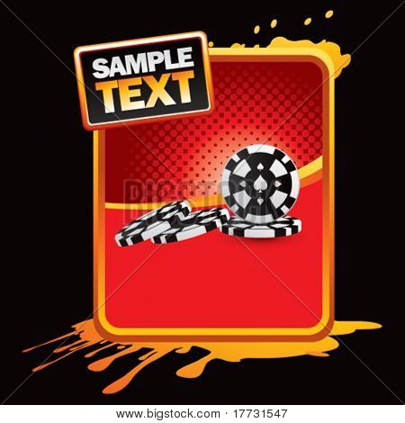 stacked casino chips red halftone grungy ad