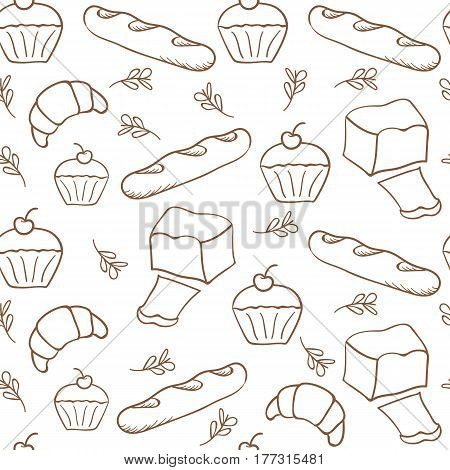 Hand drawn bakery on white background. Seamless pattern background.