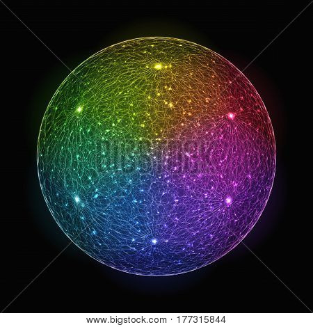 Stylized Rainbow Gradient Shimmering Sphere. Colorful Abstract Circle for Universal Application.