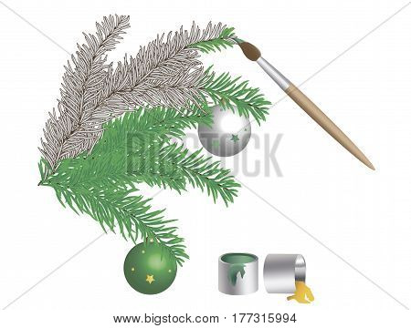 Vector drawing with imitation of painting spruce branches with New Year's toys