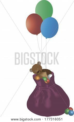 Vector illustration of bag with Christmas toys, balloons and bear
