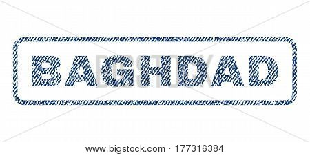 Baghdad text textile seal stamp watermark. Blue jeans fabric vectorized texture. Vector tag inside rounded rectangular shape. Rubber sticker with fiber textile structure.