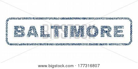 Baltimore text textile seal stamp watermark. Blue jeans fabric vectorized texture. Vector tag inside rounded rectangular shape. Rubber emblem with fiber textile structure.