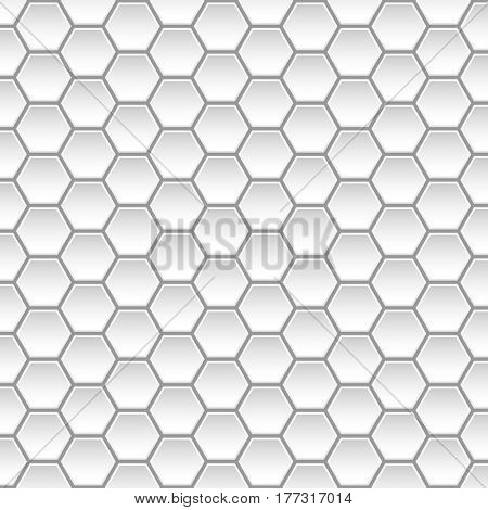 White Geometric abstract background with Hexagonal forms. Seamless pattern. illustration.