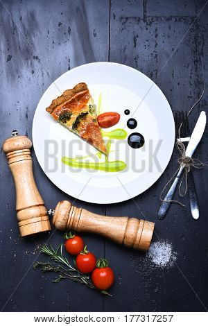Pizza Slice With Pepperbox And Saltcellar, Cherry Tomato