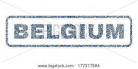 Belgium text textile seal stamp watermark. Blue jeans fabric vectorized texture. Vector caption inside rounded rectangular shape. Rubber sign with fiber textile structure.