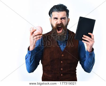bearded man long beard brutal caucasian hipster with moustache holding notepad and moneybox with angry face isolated on white background