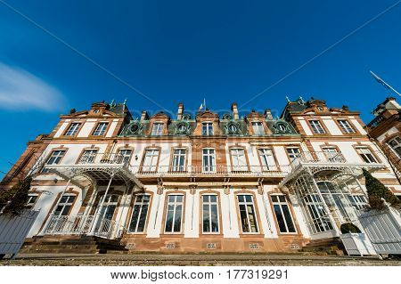 STRASBOURG; FRANCE - FEB 16; 2017: View from below of Chateau de Pourtales wide view - Chateau de Pourtales is a chateau situated in the departement of Bas-Rhin; Alsace; France. It is dated to the 18th century.