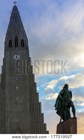 Hallgrimskirkja Cathedral And Leif Eriksson Statue