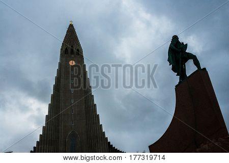 Hallgrimskirkja Cathedral And Leif Eriksson Statue In Reykja