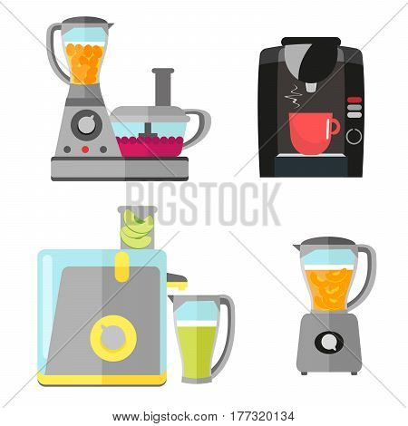 Kitchen electrical equipment set for cooking. Coffee machine, blender, juicer and food processor. Vector equipment in a flat style isolated on a white background