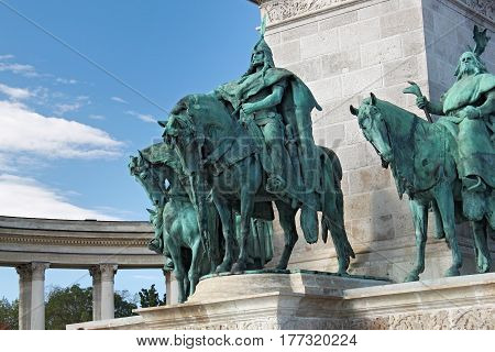 BUDAPEST, HUNGARY - AUGUST 08, 2012: Statues of the legendary Seven Chieftains on the Heroes' Square. As part of Millennium Monument. Grand Prince Arpad leading the other chieftains.