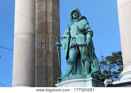 BUDAPEST, HUNGARY - AUGUST 08, 2012: Sculpture of king Matthias I (Zala Gyorgy 1905). Millennium Monument on the Heroes' Square. Matthias Corvinus was King of Hungary and Croatia from 1458 to 1490.